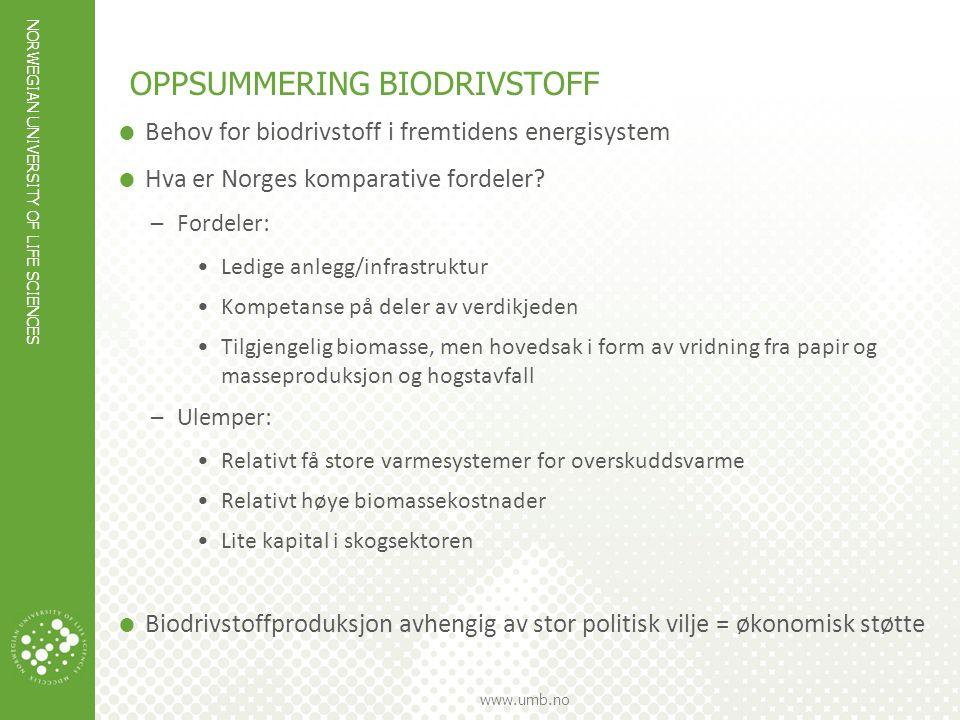 OPPSUMMERING biodrivstoff