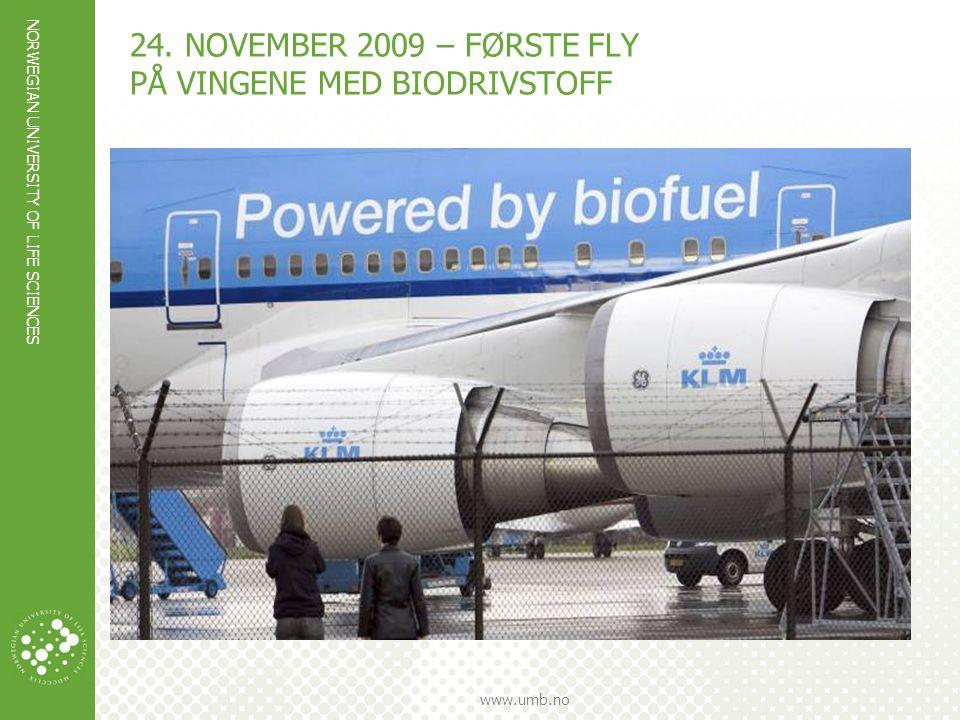 24. november 2009 – første fly på vingene med biodrivstoff