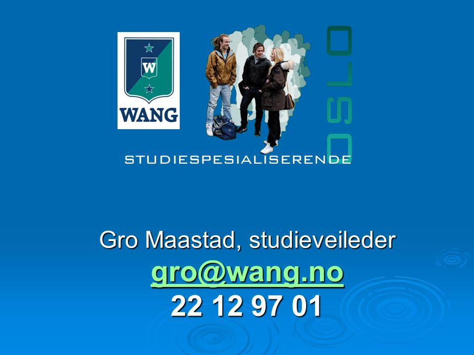 Gro Maastad, studieveileder gro@wang.no 22 12 97 01