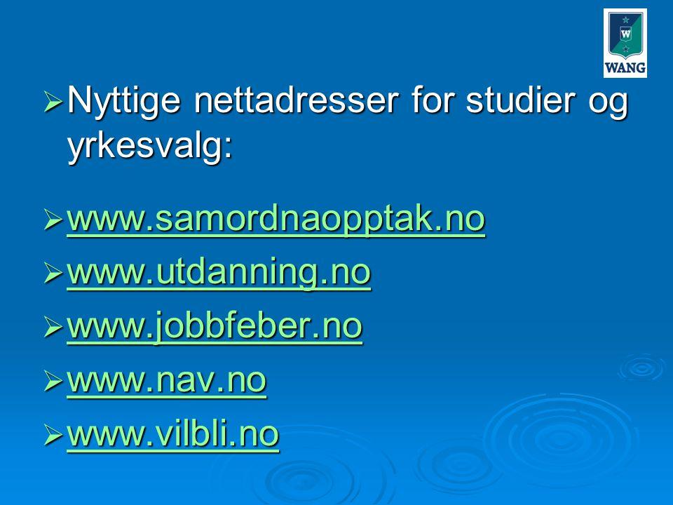 Nyttige nettadresser for studier og yrkesvalg: