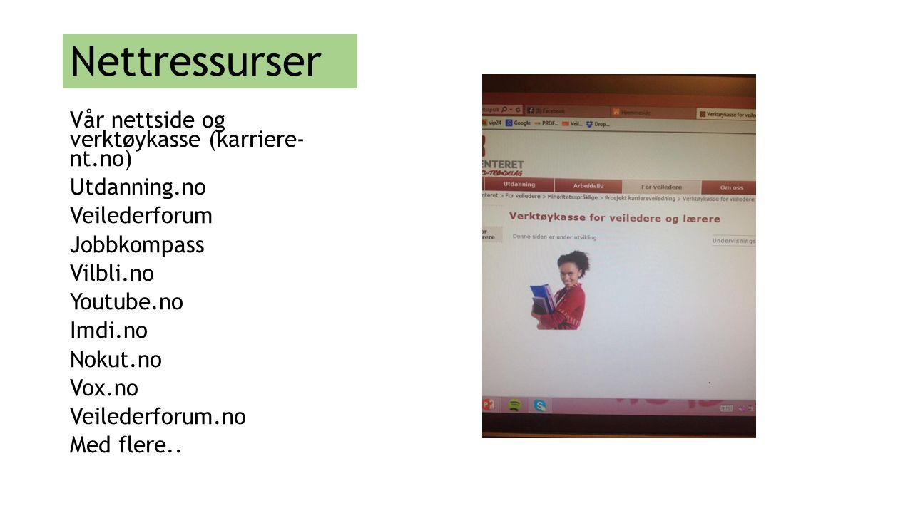 Nettressurser Vår nettside og verktøykasse (karriere- nt.no)