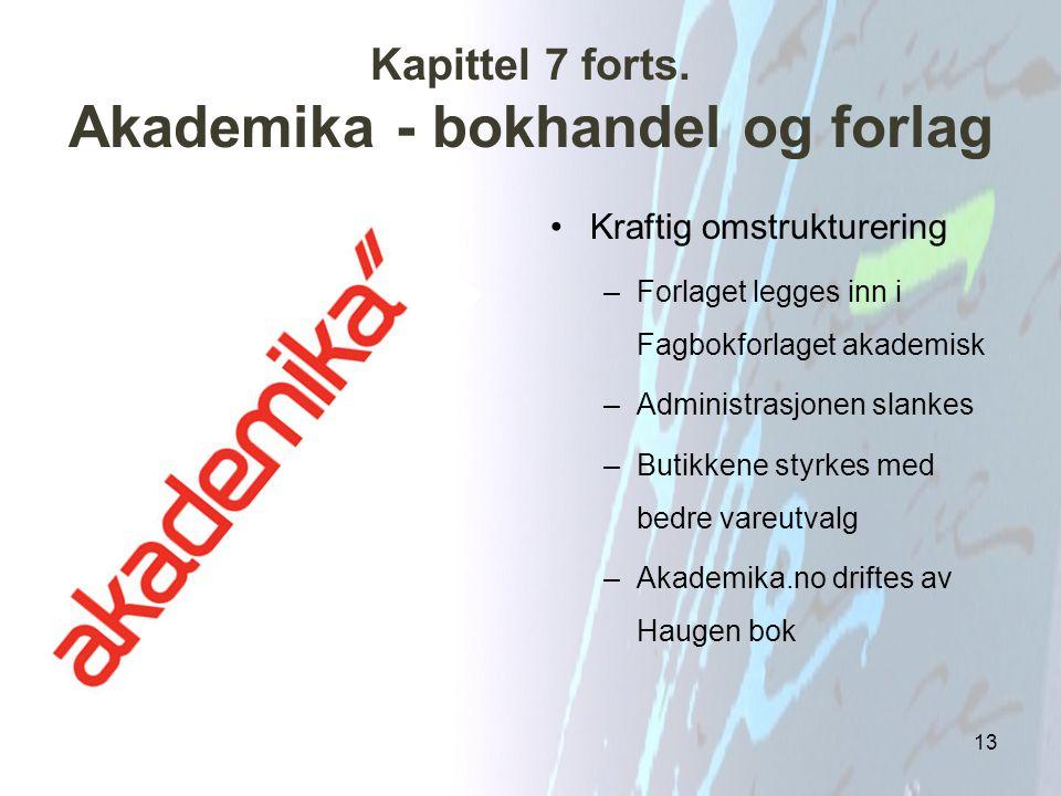 Kapittel 7 forts. Akademika - bokhandel og forlag