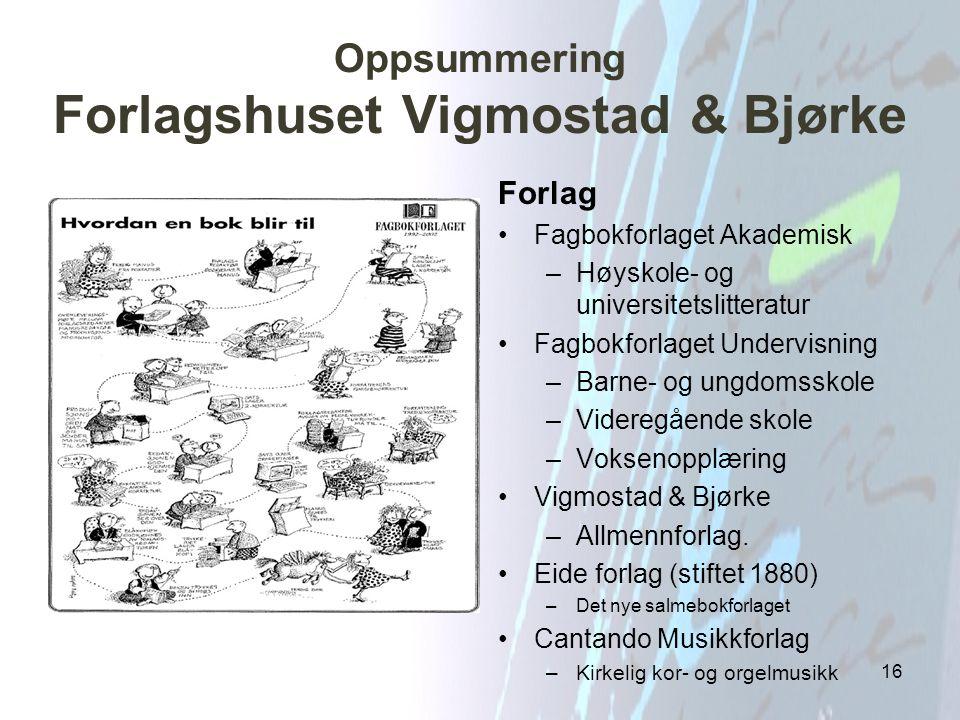Oppsummering Forlagshuset Vigmostad & Bjørke
