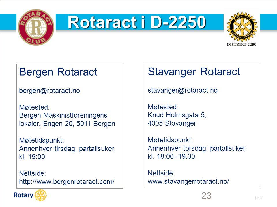 Rotaract i D-2250 Bergen Rotaract Stavanger Rotaract