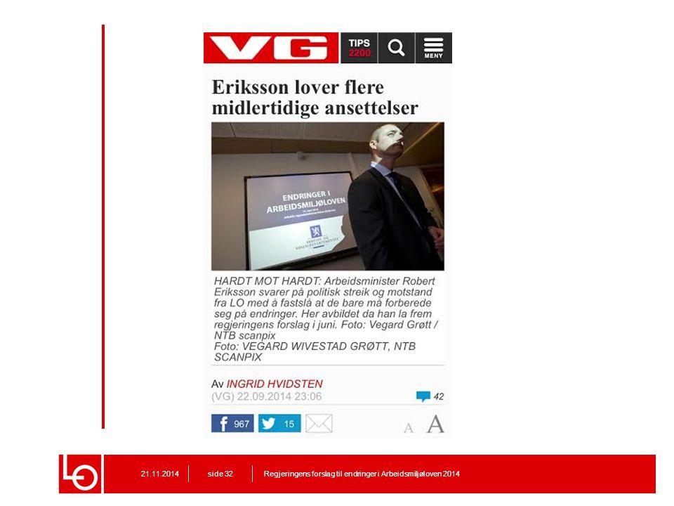 VG nett 22. september 2014 – Tre dager før fristen på høring om midlertidige ansettelser går ut: