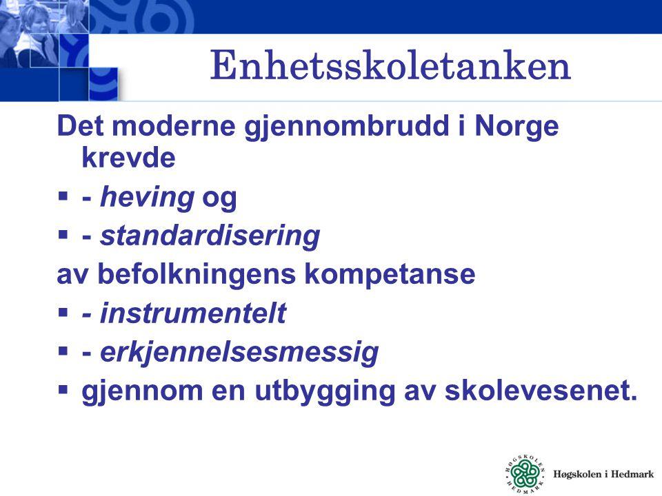 Enhetsskoletanken Det moderne gjennombrudd i Norge krevde - heving og