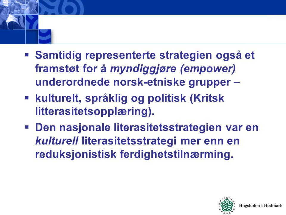 Samtidig representerte strategien også et framstøt for å myndiggjøre (empower) underordnede norsk-etniske grupper –