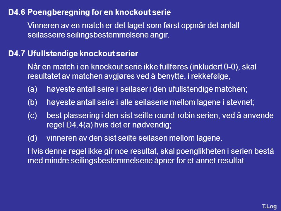 D4.6 Poengberegning for en knockout serie
