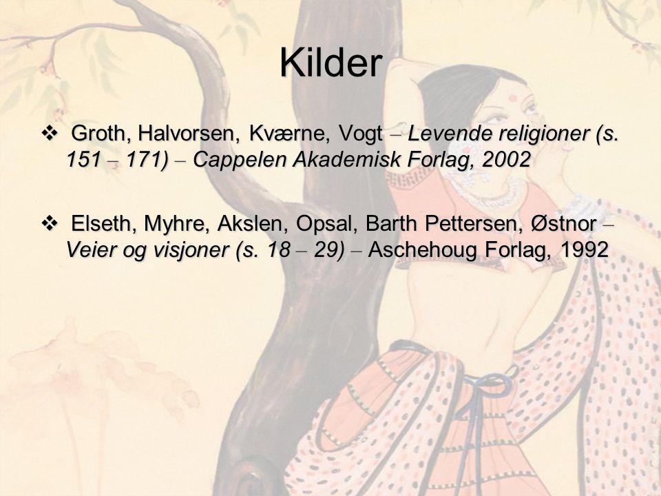Kilder Groth, Halvorsen, Kværne, Vogt – Levende religioner (s. 151 – 171) – Cappelen Akademisk Forlag, 2002.
