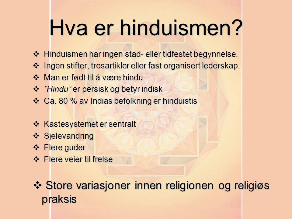 Hva er hinduismen Hinduismen har ingen stad- eller tidfestet begynnelse. Ingen stifter, trosartikler eller fast organisert lederskap.