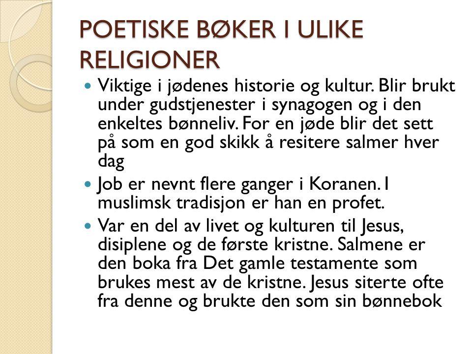 POETISKE BØKER I ULIKE RELIGIONER