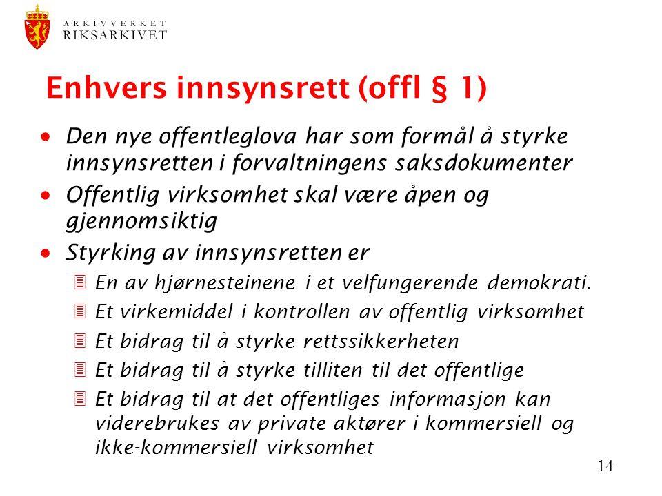 Enhvers innsynsrett (offl § 1)