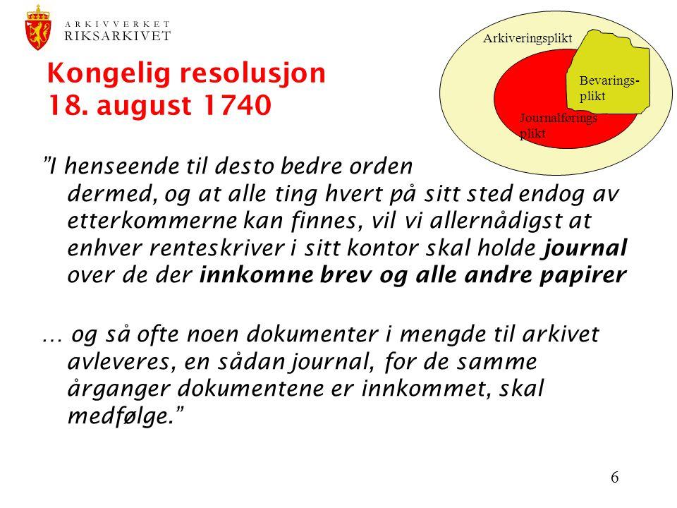 Kongelig resolusjon 18. august 1740