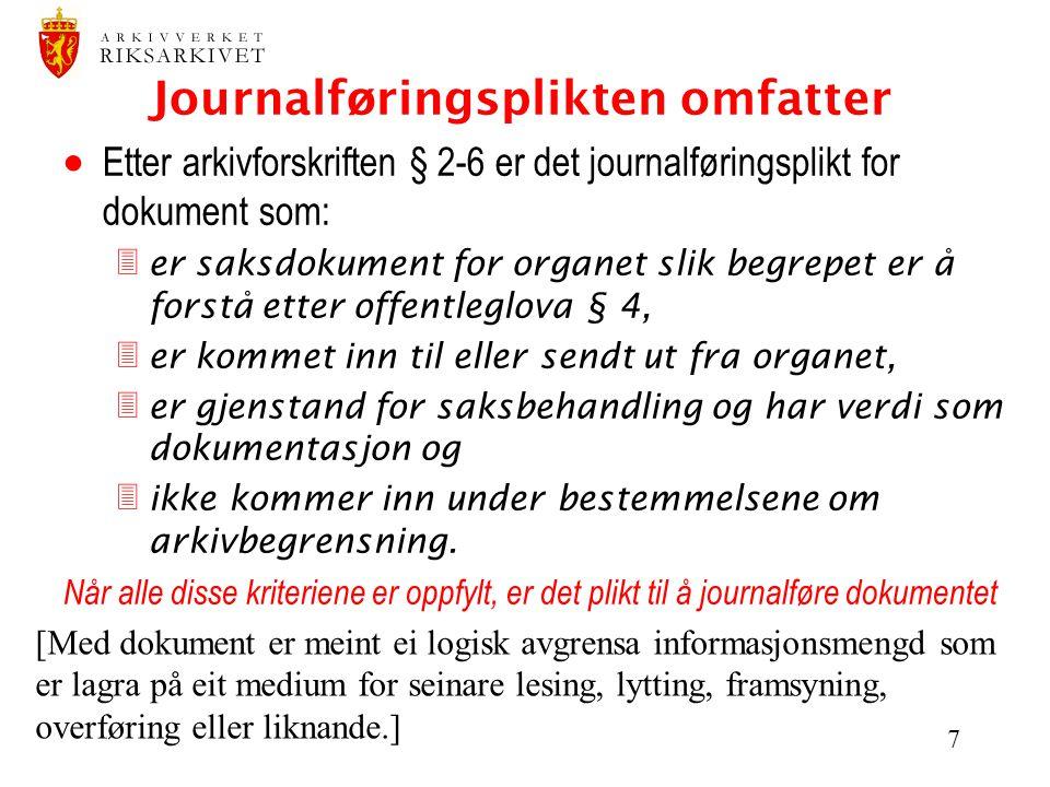 Journalføringsplikten omfatter