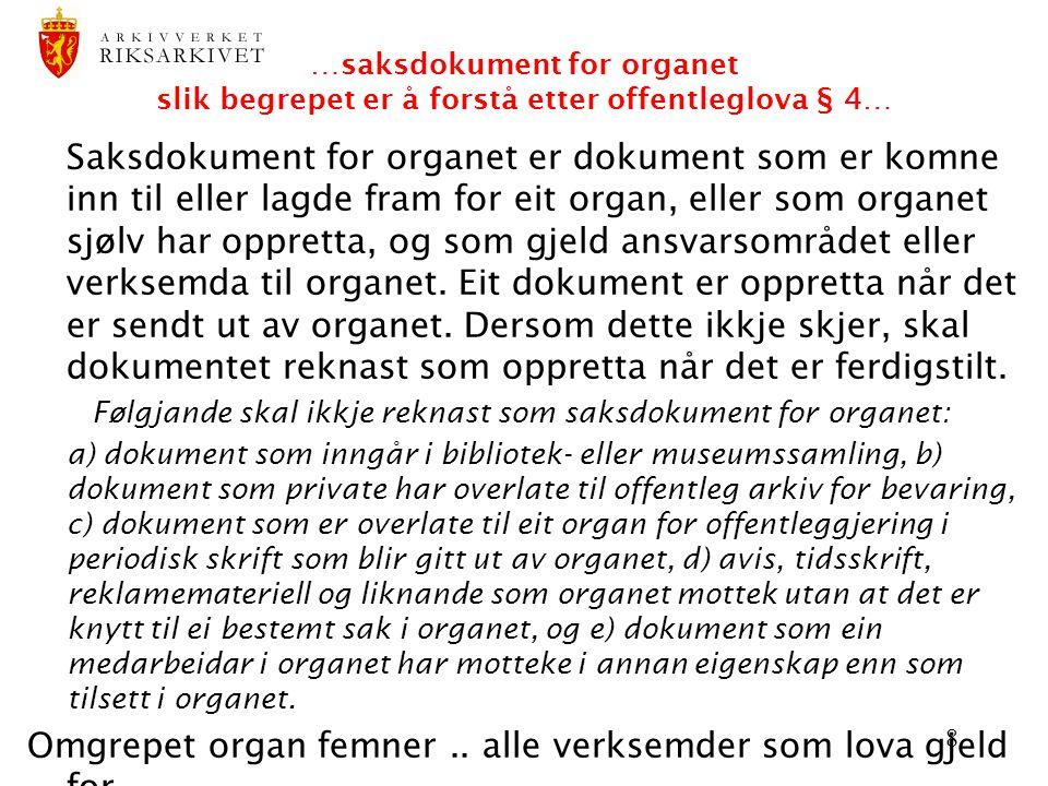 Omgrepet organ femner .. alle verksemder som lova gjeld for
