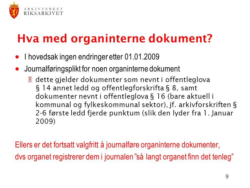 Hva med organinterne dokument