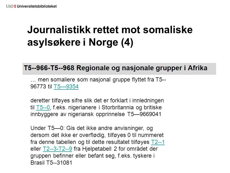 Journalistikk rettet mot somaliske asylsøkere i Norge (4)