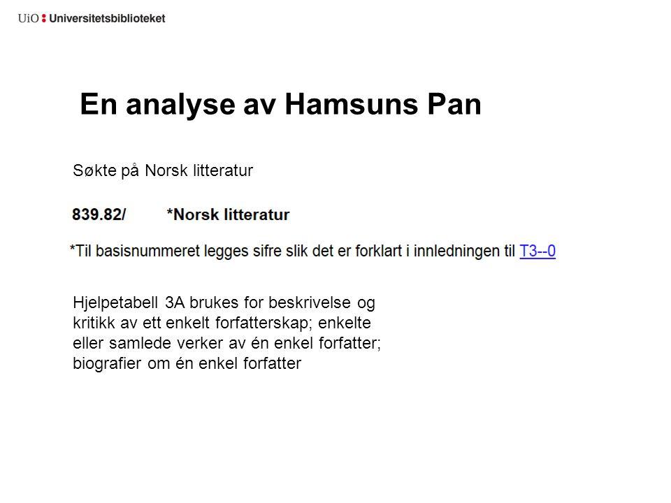 En analyse av Hamsuns Pan