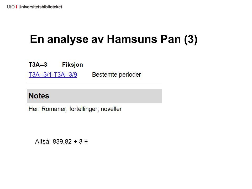 En analyse av Hamsuns Pan (3)