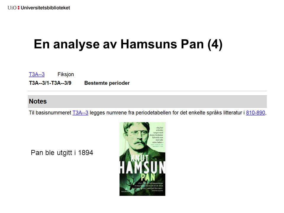 En analyse av Hamsuns Pan (4)