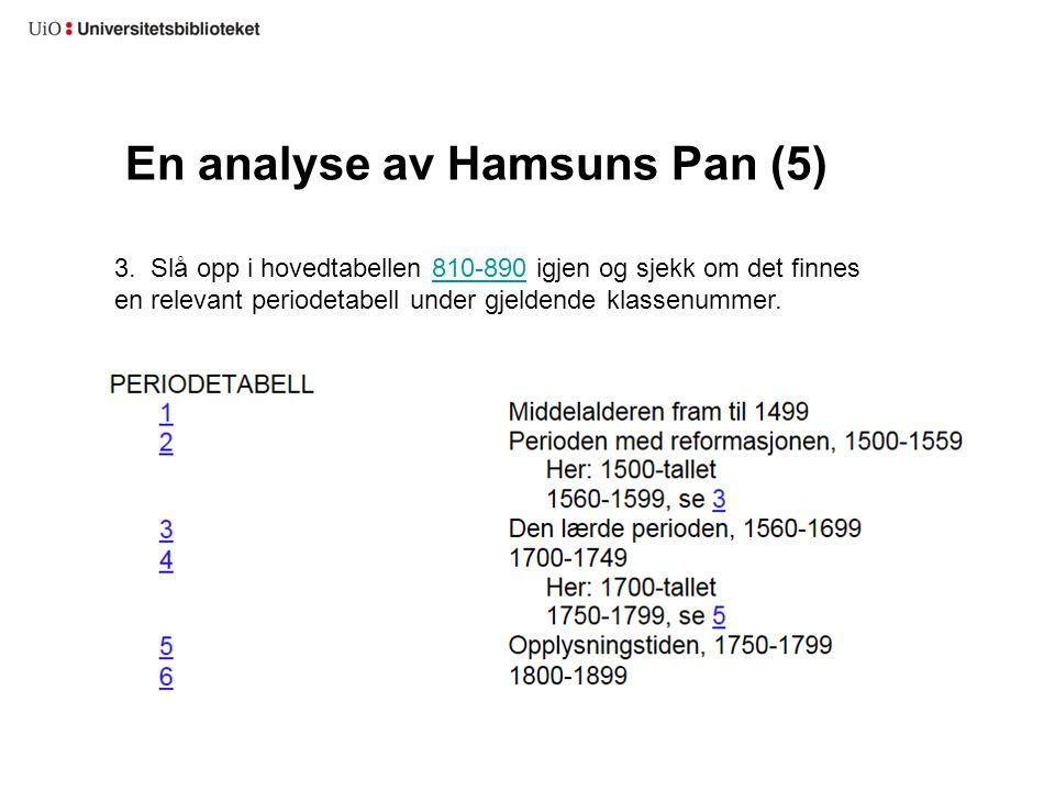 En analyse av Hamsuns Pan (5)