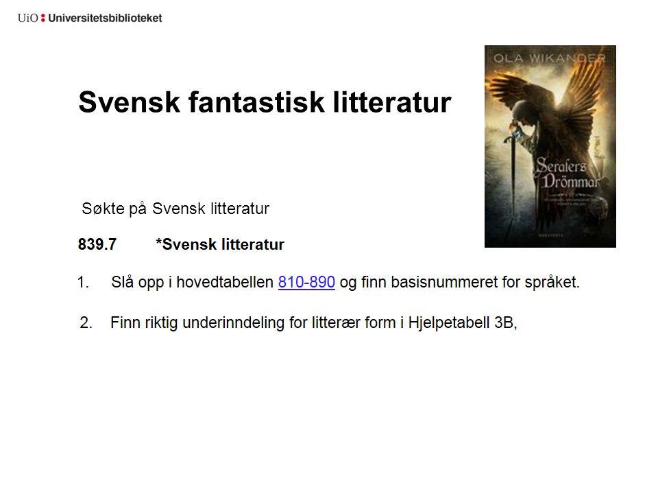Svensk fantastisk litteratur