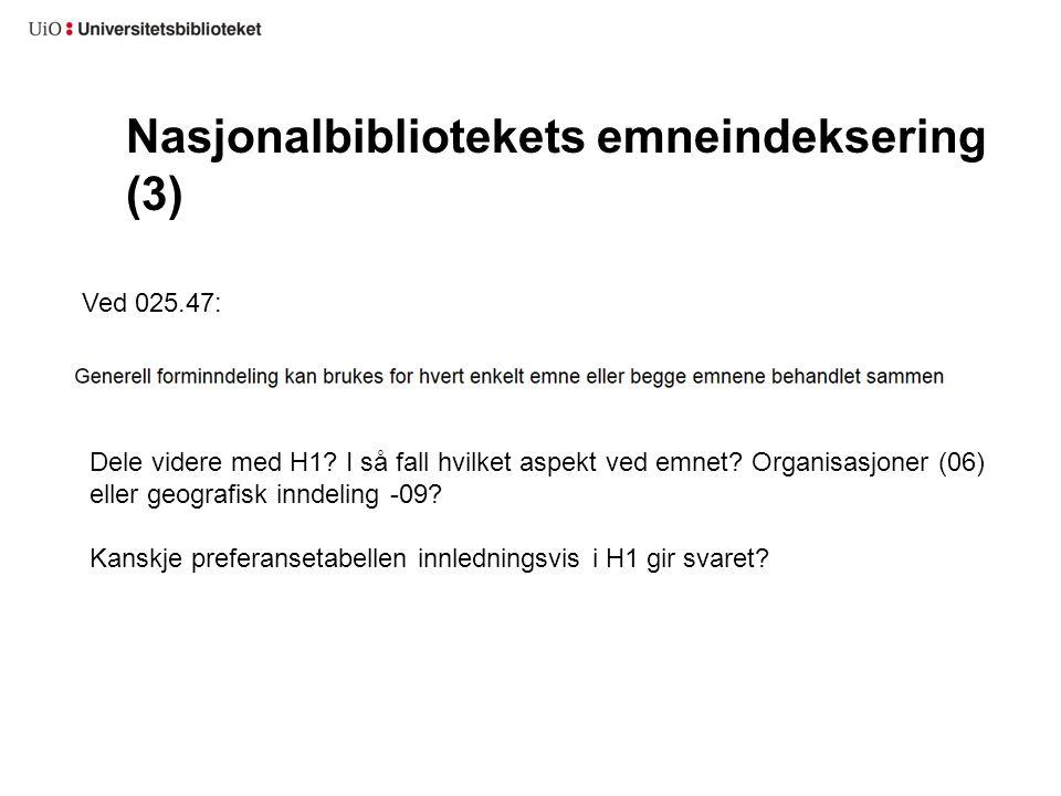 Nasjonalbibliotekets emneindeksering (3)
