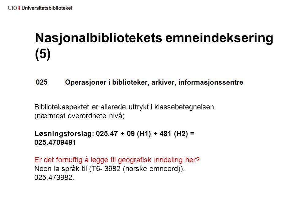 Nasjonalbibliotekets emneindeksering (5)