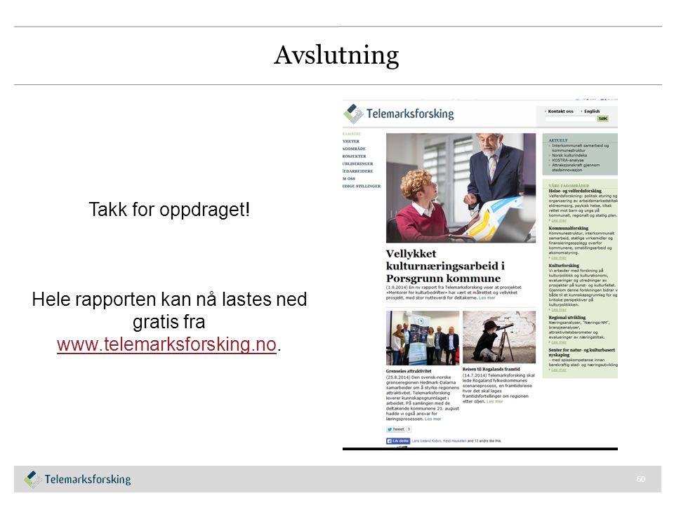 Hele rapporten kan nå lastes ned gratis fra www.telemarksforsking.no.