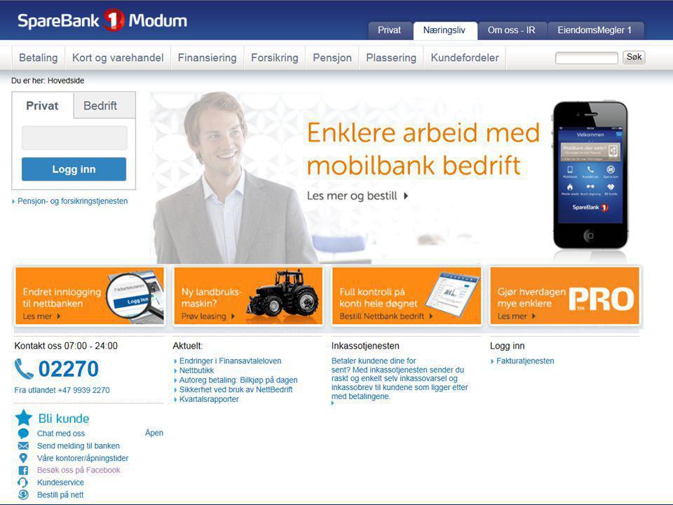 Bankens hjemmeside - Her finner du mye nyttig informasjon!