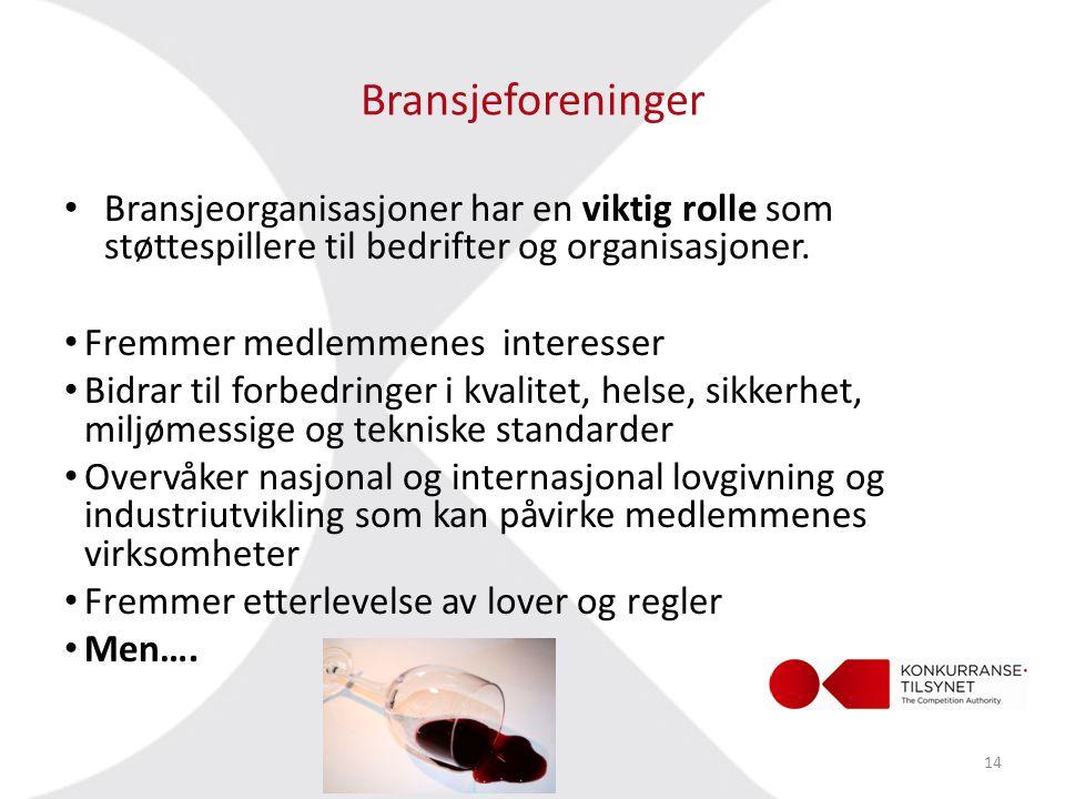 Bransjeforeninger Bransjeorganisasjoner har en viktig rolle som støttespillere til bedrifter og organisasjoner.