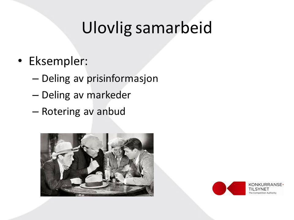 Ulovlig samarbeid Eksempler: Deling av prisinformasjon