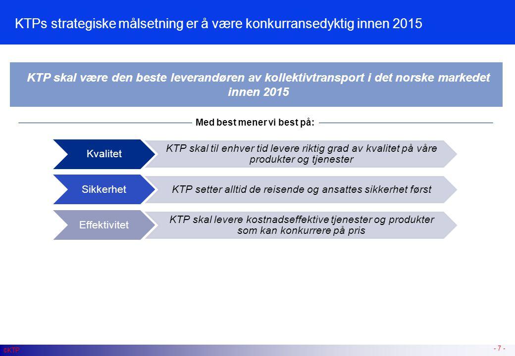 KTP vil følge en tre-trinns prosess gjennom profesjonalisering, effektivisering og industrialisering for å nå sin strategiske målsetning