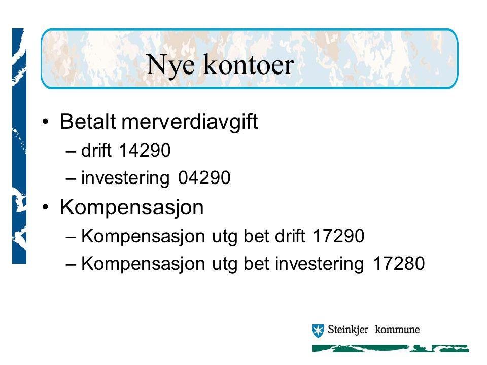 Nye kontoer Betalt merverdiavgift Kompensasjon drift 14290