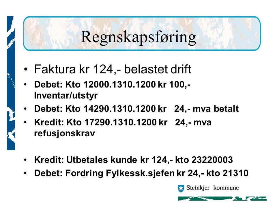 Regnskapsføring Faktura kr 124,- belastet drift