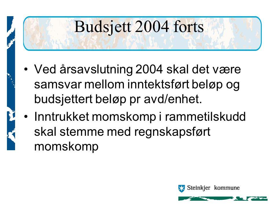 Budsjett 2004 forts Ved årsavslutning 2004 skal det være samsvar mellom inntektsført beløp og budsjettert beløp pr avd/enhet.