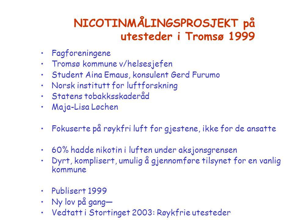 NICOTINMÅLINGSPROSJEKT på utesteder i Tromsø 1999