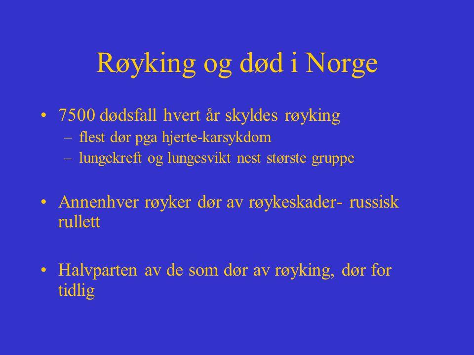 Røyking og død i Norge 7500 dødsfall hvert år skyldes røyking