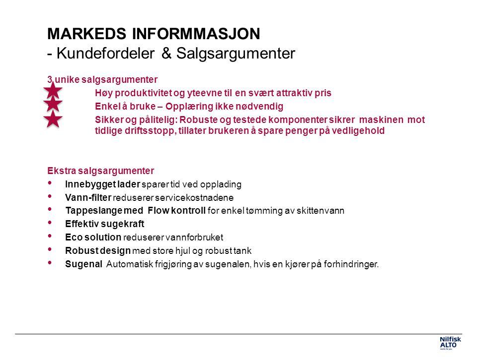 MARKEDS INFORMMASJON - Kundefordeler & Salgsargumenter