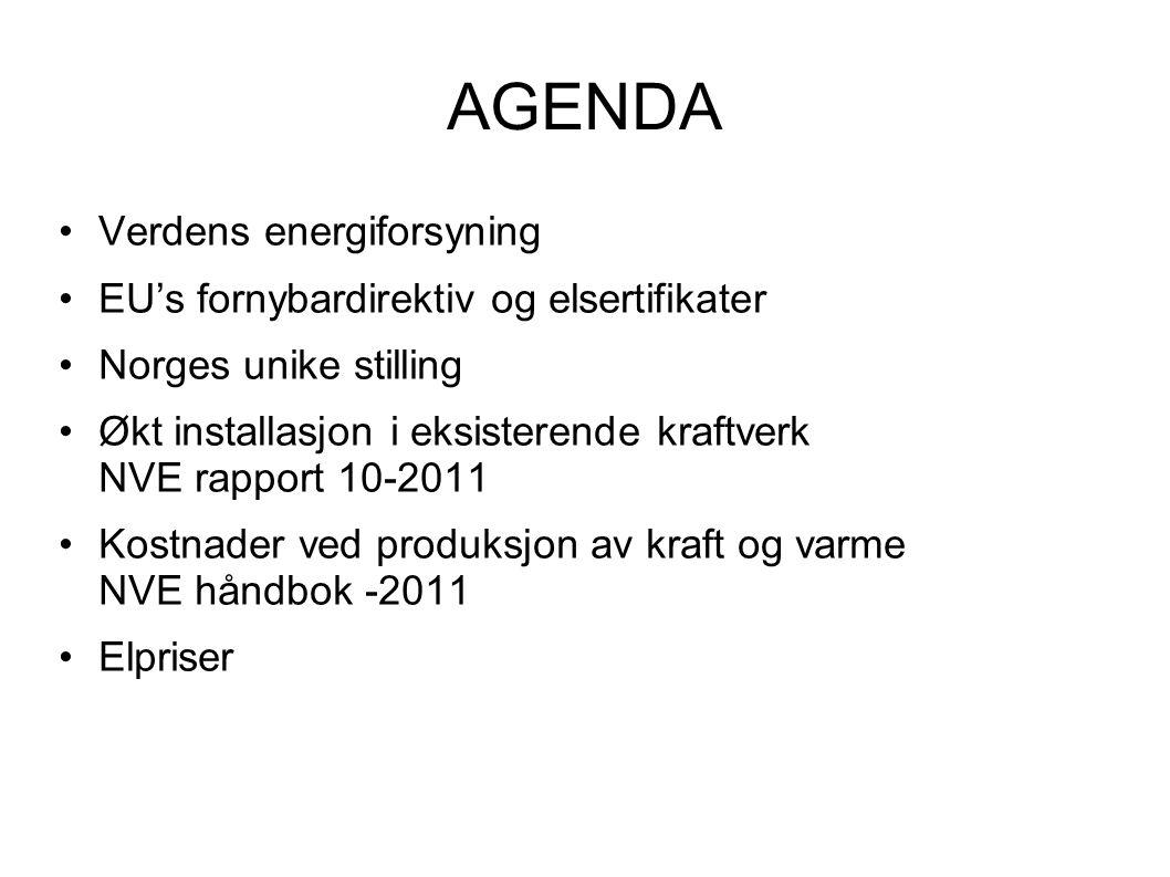 AGENDA Verdens energiforsyning EU's fornybardirektiv og elsertifikater
