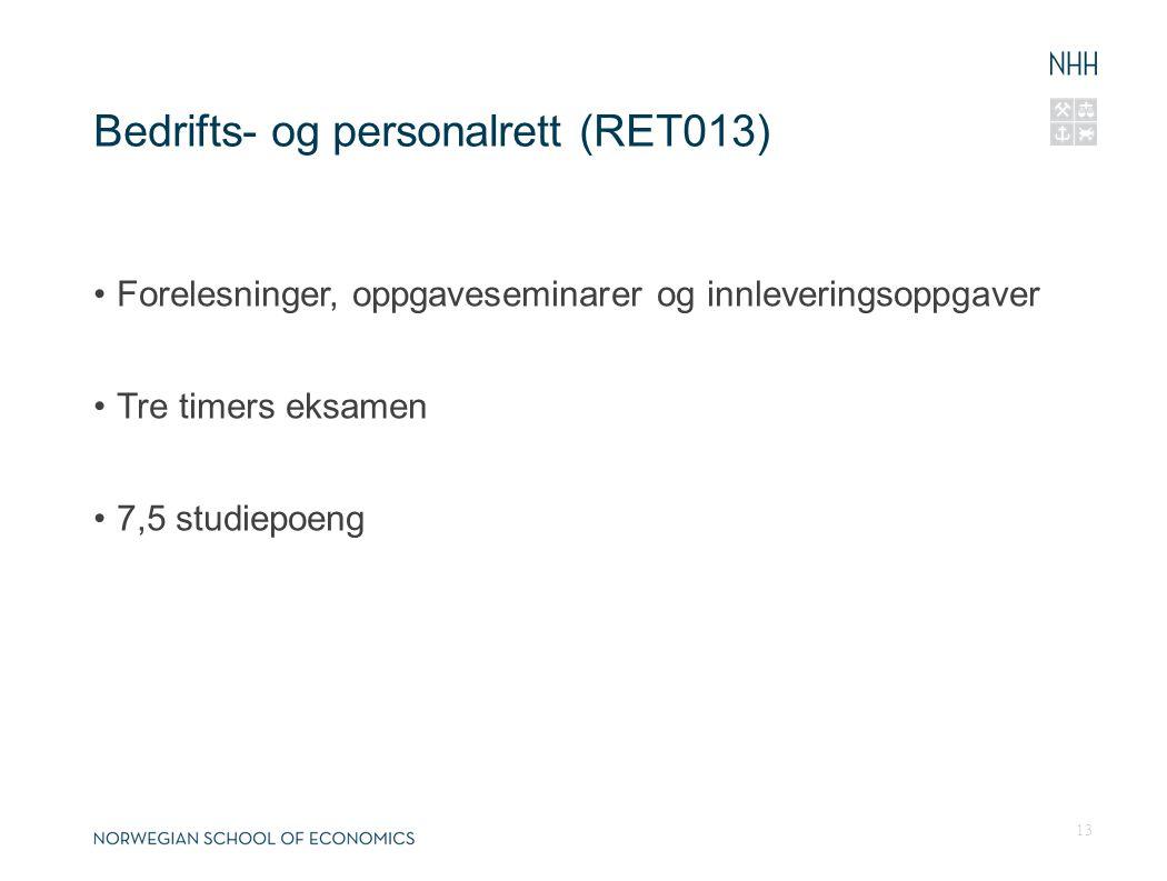 Bedrifts- og personalrett (RET013)