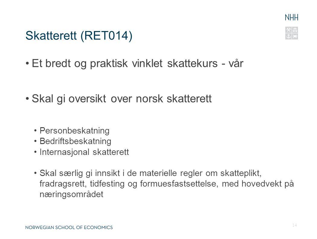 Skatterett (RET014) Et bredt og praktisk vinklet skattekurs - vår