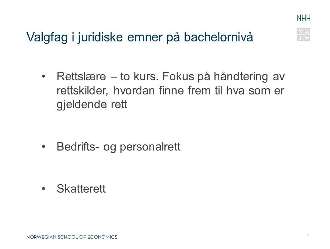 Valgfag i juridiske emner på bachelornivå