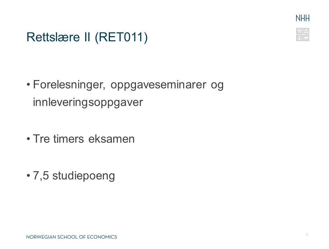 Rettslære II (RET011) Forelesninger, oppgaveseminarer og innleveringsoppgaver. Tre timers eksamen.