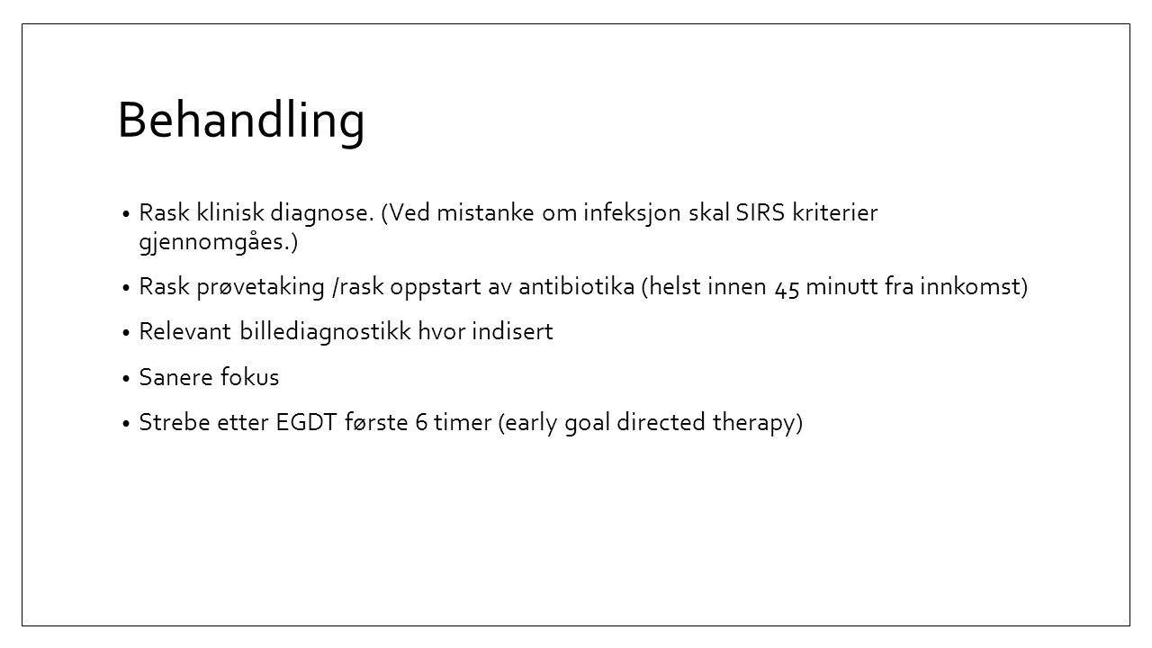 Behandling Rask klinisk diagnose. (Ved mistanke om infeksjon skal SIRS kriterier gjennomgåes.)