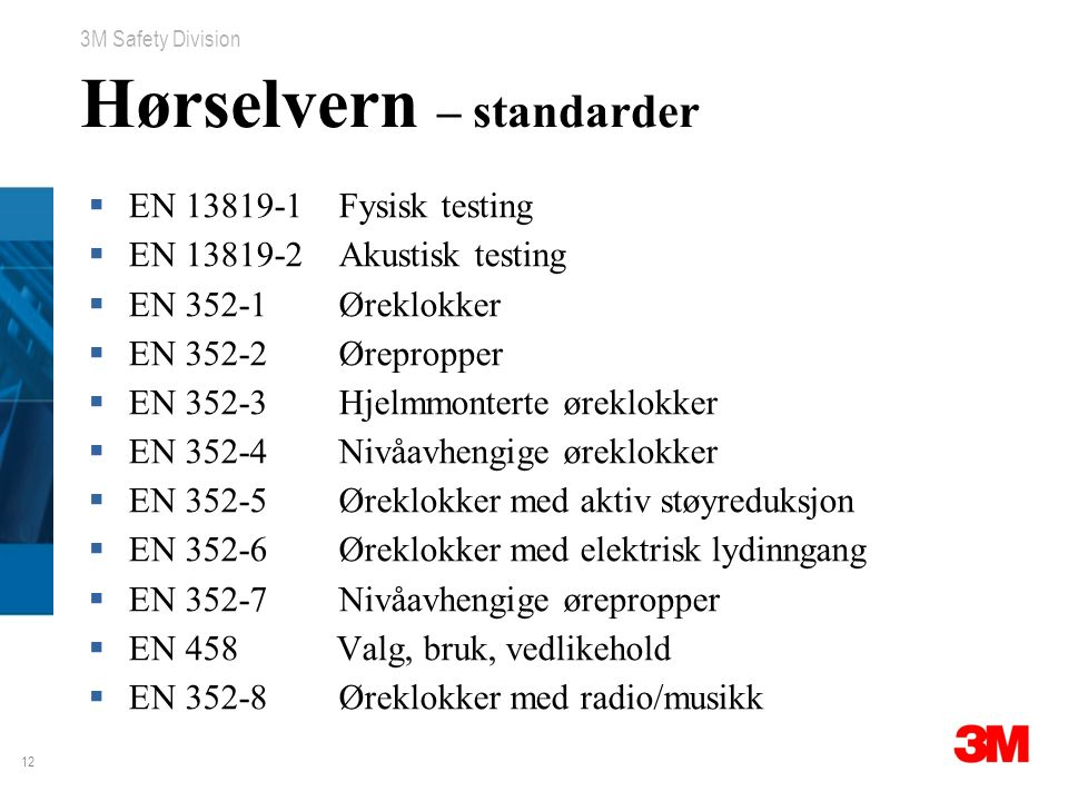 Hørselvern – standarder
