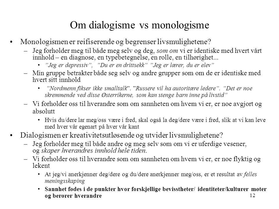 Om dialogisme vs monologisme