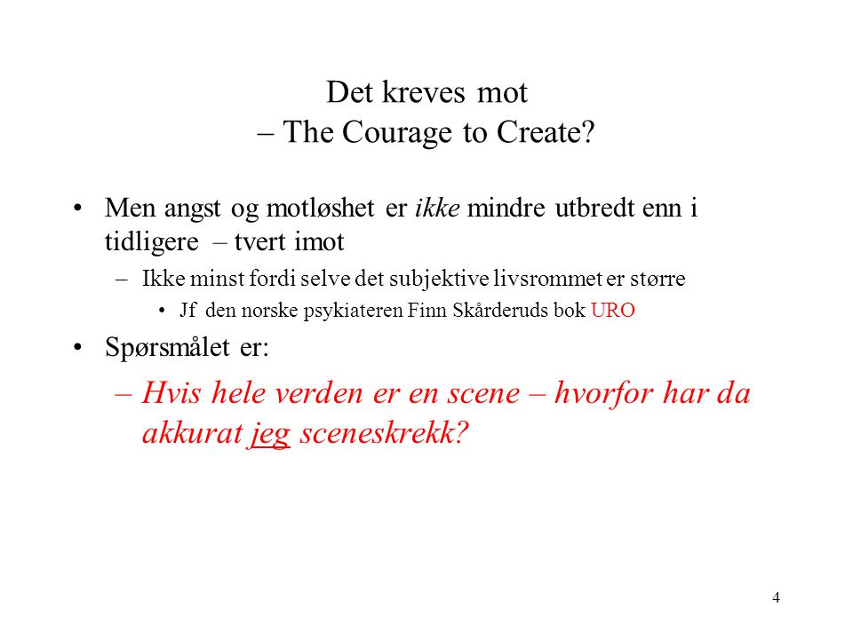 Det kreves mot – The Courage to Create
