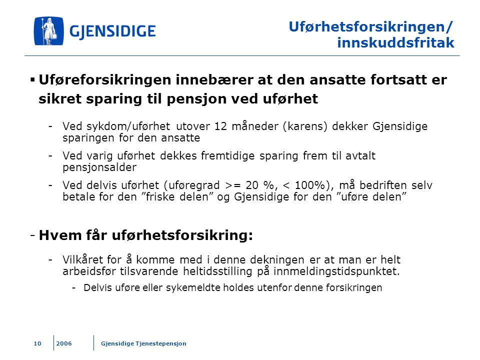 Uførhetsforsikringen/ innskuddsfritak