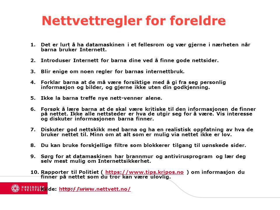 Nettvettregler for foreldre